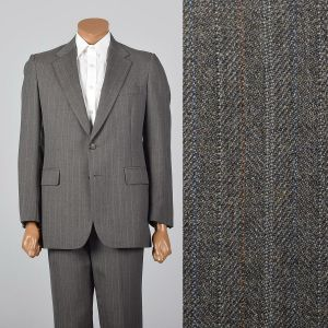 Medium 1960s 38R  Brown Stripe Suit Convertible Pocket Single Vent Jacket Flat Front Straight Pants