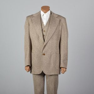 Large 1970s Mens Brown Suit 3pc Flared Pants Reversible Vest Matching Blazer Speckled Set - Fashionconstellate.com