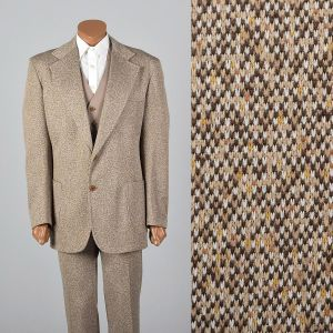 Large 1970s Mens Brown Suit 3pc Flared Pants Reversible Vest Matching Blazer Speckled Set