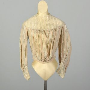XS 1900s Victorian Blouse Lightweight Cotton Long Sleeve Lace