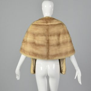 1960s Buff Mink Stole Front Pockets Fur Stole Mink Outerwear Glamorous Evening Wear Pin Up  - Fashionconstellate.com