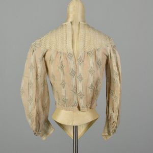 XS 1900s Victorian Blouse Lightweight Cotton Long Sleeve Lace - Fashionconstellate.com