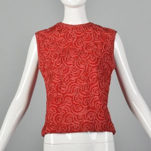XS 1960s Wool Crepe Tank Top Red Soutache Ribbon Sleeveless Zip Back Spring Summer 50s Vintage Shirt