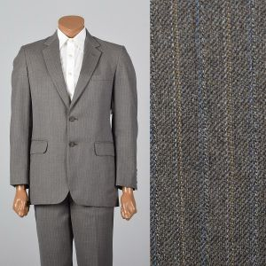 Small 1960s Mens Suit Gray Blazer Pants Slim Brown Striped Flat Front Trousers