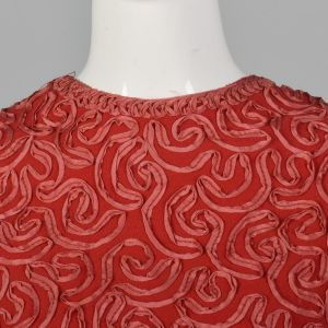 XS 1960s Wool Crepe Tank Top Red Soutache Ribbon Sleeveless Zip Back Spring Summer 50s Vintage Shirt - Fashionconstellate.com