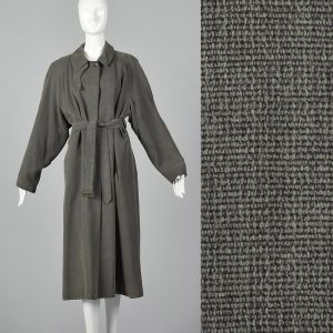 XL 1990s Giorgio Armani Trench Coat Gray Loose Fit Pockets Full Lining Vent Medium Weight