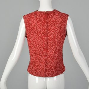 XS 1960s Wool Crepe Tank Top Red Soutache Ribbon Sleeveless Zip Back Spring Summer - Fashionconstellate.com