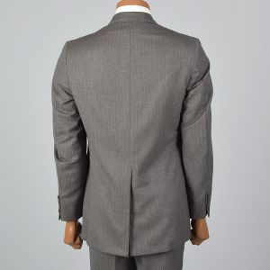 Small 1960s Mens Suit Gray Blazer Pants Slim Brown Striped Flat Front Trousers - Fashionconstellate.com