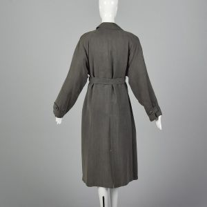 XL 1990s Giorgio Armani Trench Coat Gray Loose Fit Pockets Full Lining Vent Medium Weight  - Fashionconstellate.com