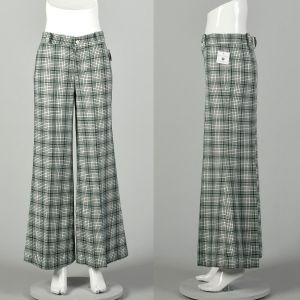 Small 1970s Pants Green Plaid Mid Rise Bell Bottoms