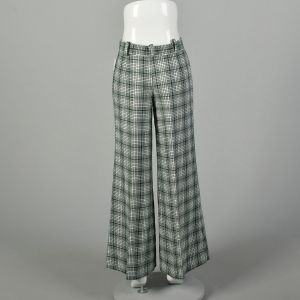 Small 1970s Pants Green Plaid Mid Rise Bell Bottoms - Fashionconstellate.com