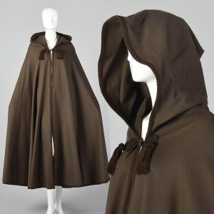 1976 Yves Saint Laurent Russian Collection Brown Wool Cloak Hooded Boho Cape