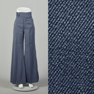 Small 1970s Pants Wide Leg High Waisted Denim-Look Flare