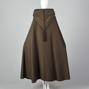 1976 Yves Saint Laurent Russian Collection Brown Wool Cloak Hooded Boho Cape - Fashionconstellate.com