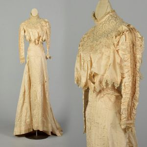 Small 1900s Victorian Wedding Dress Lace Repurpose Study As Is