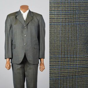 Medium 1960s 39S Green Plaid Suit Three Button Convertible Pockets Double Vent Flat Front Pants