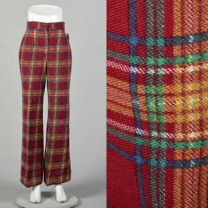 Small 1970s Plaid Flannel Pants Wide Leg Winter Warm Bell Bottoms