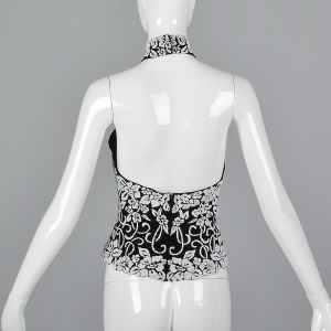 Small 1990s Black Backless Halter Top White Floral Shirt Glitter Beading - Fashionconstellate.com