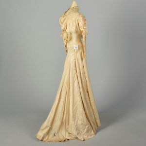 Small 1900s Victorian Wedding Dress Lace Repurpose Study As Is - Fashionconstellate.com