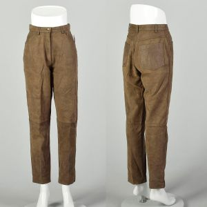 Small 2000s Leather Pants Worn Brown Broken-In