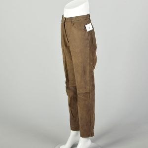 Small 2000s Leather Pants Worn Brown Broken-In - Fashionconstellate.com