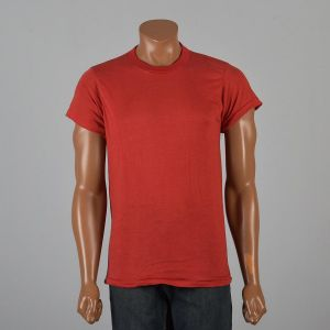 Large 1970s Deadstock Mens Red T-Shirt Loop Wheel Rib Knit Collar Cotton Blend Lightweight