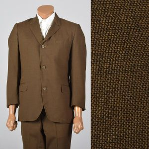 Medium 1960s 39L Mens Brown 2pc Suit Convertible Pockets 3 Roll 2 Single Vent Jacket Tapered Pants