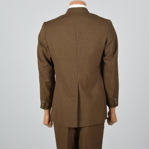 Medium 1960s 39L Mens Brown 2pc Suit Convertible Pockets 3 Roll 2 Single Vent Jacket Tapered Pants - Fashionconstellate.com