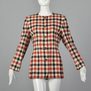 Medium 1980s Emanuel Ungaro Plaid Jacket Red White and Blue Gingham Plaid Blazer