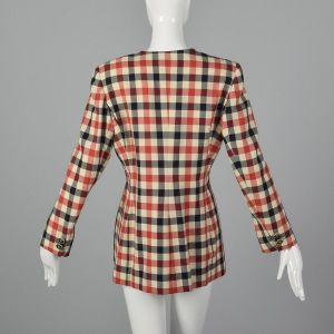 Medium 1980s Emanuel Ungaro Plaid Jacket Red White and Blue Gingham Plaid Blazer  - Fashionconstellate.com