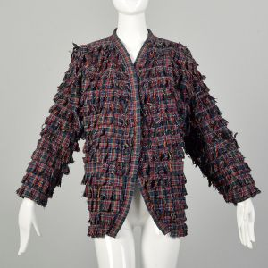 Large 1990s Shaggy Tartan Plaid Jacket Casual Clutch Front