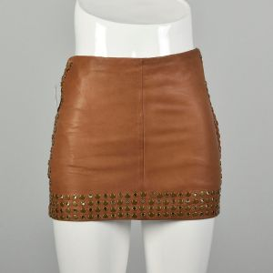 XS 2010s Studded Leather Mini Skirt Haute Hippie Brown Leather Heavy Studs Grommets Eyelets