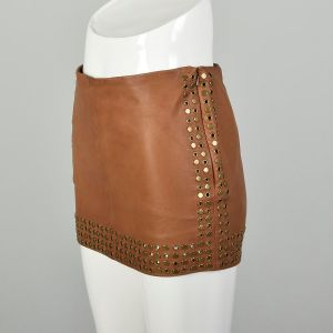 XS 2010s Studded Leather Mini Skirt Haute Hippie Brown Leather Heavy Studs Grommets Eyelets - Fashionconstellate.com