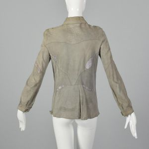 Small 1970s Suede Shirt with Lavender Snakeskin Details Long Sleeve Taupe Button Front Blouse  - Fashionconstellate.com