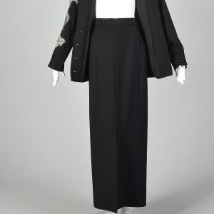 Small Miguel Cruz 1980s Two Piece Skirt Suit Women's Wool Suit Set Beaded Blazer and Skirt Set  - Fashionconstellate.com