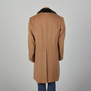 42 Large 1970s Mens Coat Tan Wool Plush Lined Double Breasted Heavyweight Winter Jacket - Fashionconstellate.com