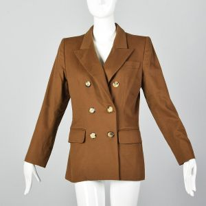 Medium 1990s Yves Saint Laurent Rive Gauche Brown Wool Blazer YSL Double Breasted Jacket