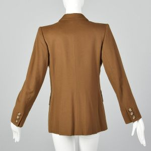 Medium 1990s Yves Saint Laurent Rive Gauche Brown Wool Blazer YSL Double Breasted Jacket  - Fashionconstellate.com