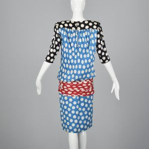 XS 1980s Emanuel Ungaro Silk Polka Dot Dress Keyhole Back Red Black Blue Knee Length  - Fashionconstellate.com