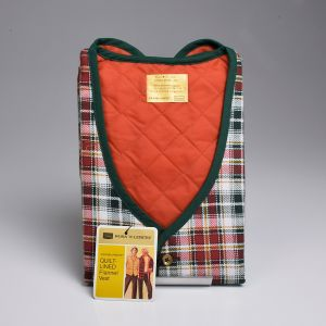 Medium 1970s Mens Vest Orange Green and White Plaid Lightweight Flannel Quilted Lining
