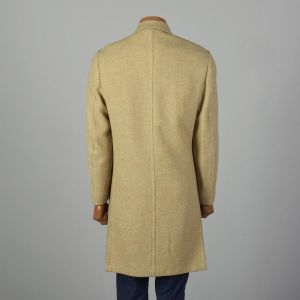 Small 1960s Mens Coat Double Breasted 4 Over 8 Tan Wool Tweed Winter Overcoat - Fashionconstellate.com