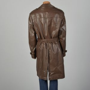 Medium-Large 1970s Mens Coat Classic Brown Leather Trench Fleece Liner Winter Jacket - Fashionconstellate.com
