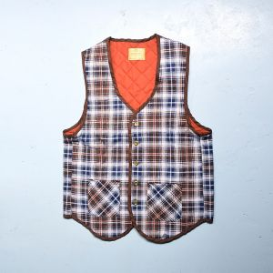 Small 1970s Mens Vest Brown Blue Orange Plaid Quilted Lining Lightweight Outerwear