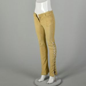 XS 2000s Pants Roberto Cavalli Tan Suede Stretch Leather Lace Up - Fashionconstellate.com