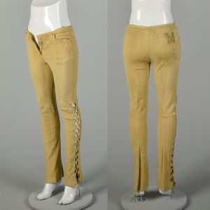 XS 2000s Pants Roberto Cavalli Tan Suede Stretch Leather Lace Up