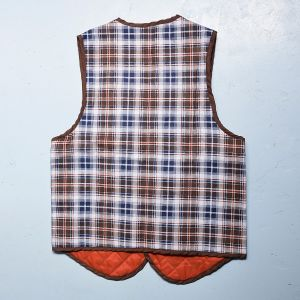 Small 1970s Mens Vest Brown Blue Orange Plaid Quilted Lining Lightweight Outerwear  - Fashionconstellate.com