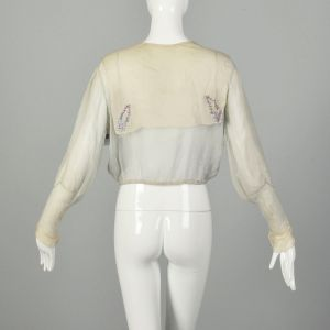 Small 1910s Edwardian Blouse Sheer Silk Embroidered As Is - Fashionconstellate.com