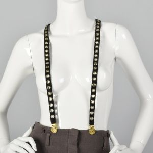 Sonia Rykiel Black Suede Suspenders Gold Eyelets Gold Faux Coin Detail
