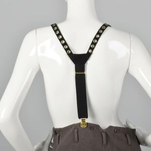 Sonia Rykiel Black Suede Suspenders Gold Eyelets Gold Faux Coin Detail  - Fashionconstellate.com