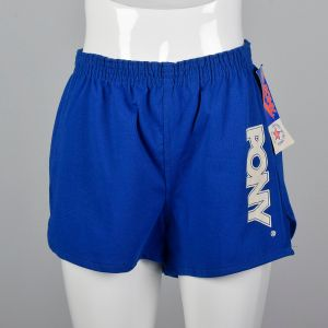 Small 1980s Deadstock Pony Athletic Shorts Blue Knit